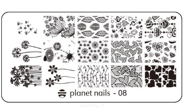 Planet Nails, Пластина для Stamping Nail Art (15 видов) Пластина для Stamping Nail Art - 08 stylish 24 pcs smile expression pattern nail art false nails