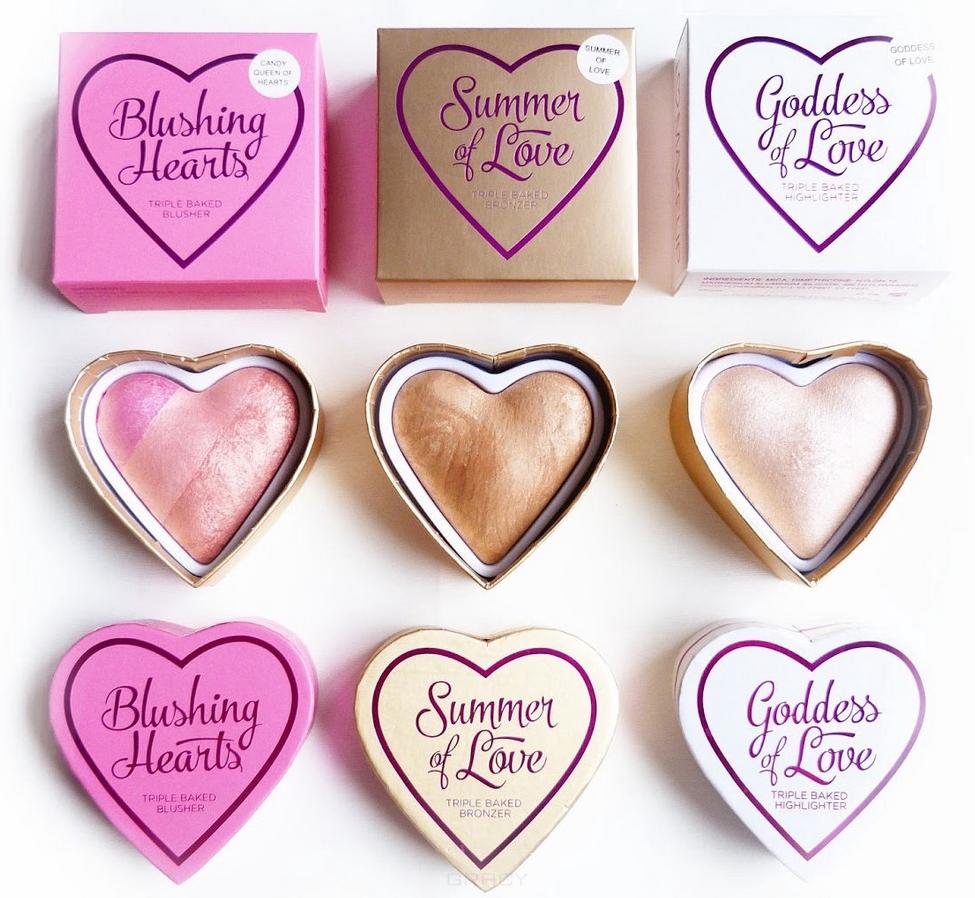I Heart Revolution, Румяна Blushing Heart (3 тона), 1 шт, Peachy Pink Kisses  - Купить