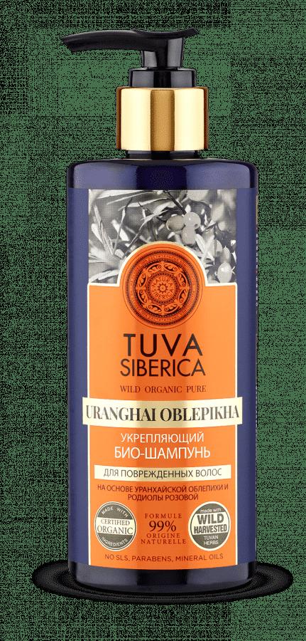 Био-шампунь укрепляющий Tuva Siberica, 300 млОписание:&#13;<br> &#13;<br> Укрепляющий шампунь на основе уранхайской облепихи и родиолы розовой мягко и деликатно очищает волосы, нейтрализуя вредное влияние внешней среды и обеспечивая надежную защиту. Уранхайская облепиха растет на Крайнем Севере и выдерживает самые суровые природные условия. В ее составе — уникальный комплекс витаминов и аминокислот, обеспечивающих волосам прочность и природную силу и защищающих их от вредного воздействия внешней среды. Прическа становится заметно пышнее, уменьшается ломкость волос и исчезает проблема сухих кончиков. Родиола розовая (золотой корень) содержит около 140 биологически активных компонентов — фитостеринов, флавоноидов, органических кислот, эфирного масла, воска и микроэлементов, и оказывает укрепляющее и стимулирующее воздействие на волосы, даря ощущение чистоты и свежести.<br>