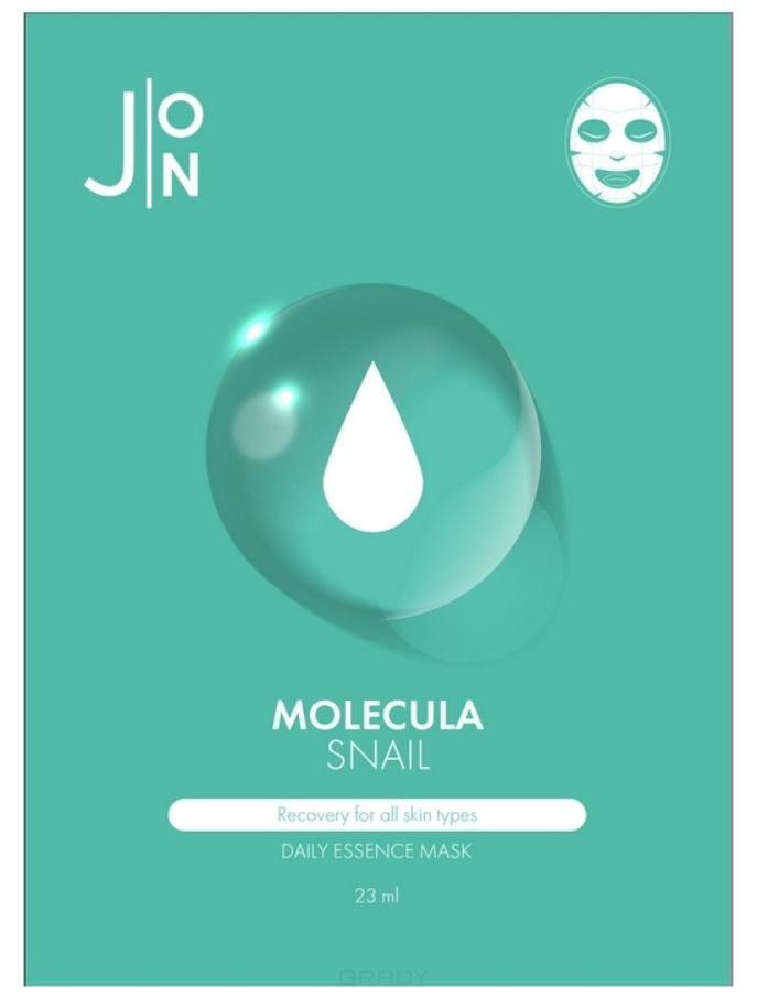 Купить J:ON, Набор тканевых масок для лица с муцином улитки Molecula Snail Daily Essence Mask, 23 г*10 шт