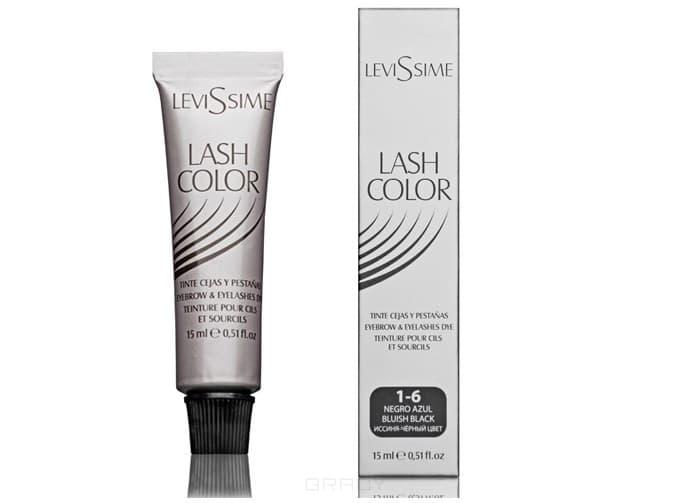 Levissime, Краска для бровей и ресниц Левисим Lash Color, 15 мл (5 цветов, Новый дизайн!), 15 мл. Сине-черный