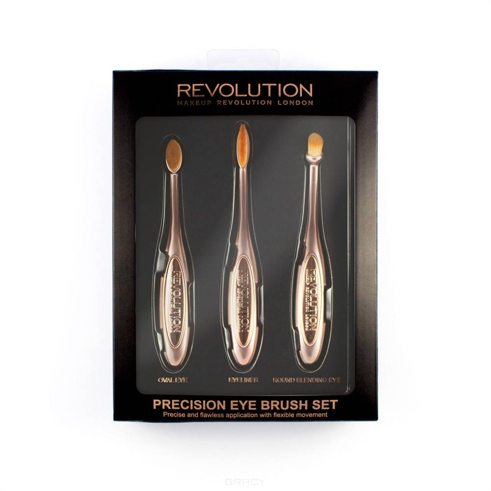 MakeUp Revolution, Набор щеточек для макияжа глаз Precision Eye Set two tone handle eye brush set 3pcs