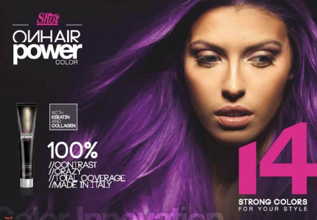 Shot, Палитра оттенков крем-краски для волос ON HAIR POWER COLOR (14 оттенков)