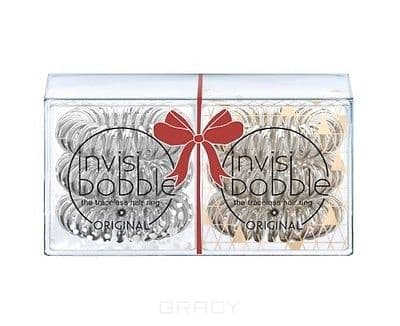 Invisibobble, Резинка для волос Holiday Duo Pack, 2х3 шт (прозрачно-серебряный + прозрачно-бронзовый)Greenism - эко-серия для ухода<br><br>