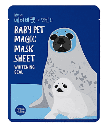 Holika Holika, Тканевая маска-мордочка отбеливающая Тюлень Baby Pet Magic Mask Sheet Whitening Seal, 22 мл oculos anti uv fashion mirror big box sun glasses female