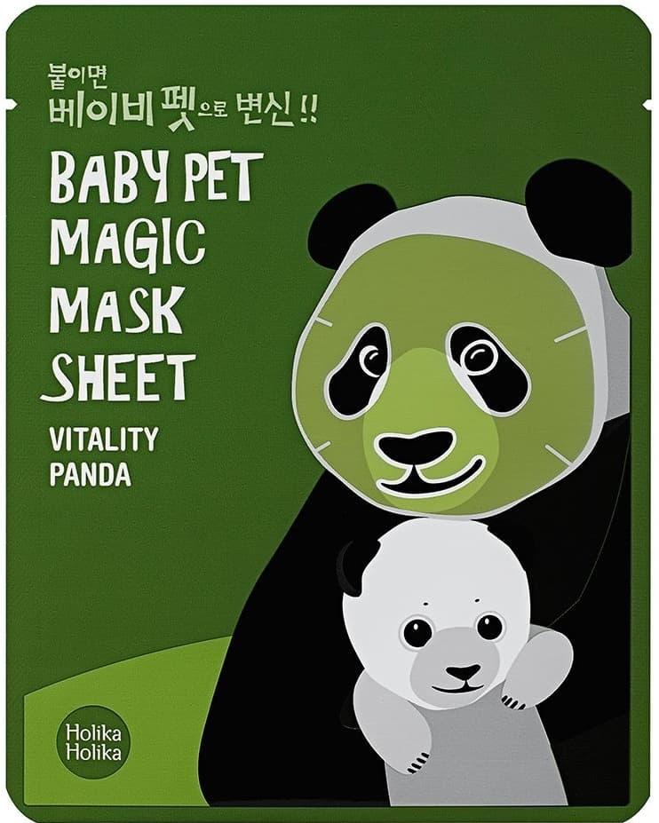 Holika Holika, Baby Pet Magic Mask Sheet Vitality Panda Тканевая маска-мордочка против темных кругов под глазами Панда, 22 мл Холика Холика тканевая маска мордочка отбеливающая тюлень baby pet magic mask sheet whitening seal 22 мл