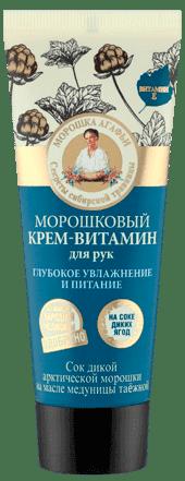 Крем-витамин для рук глубокое увлажнение и питание Морошковый, 75 млОписание:&#13;<br> &#13;<br> Морошковый крем-витамин для рук обладает мощным витаминизирующим действием, насыщает кожу необходимыми питательными веществами, заряжает энергией, придает гладкость и нежность.&#13;<br> &#13;<br> Сок дикой арктической морошки обогащен антиоксидантами и микроэлементами, интенсивно увлажняет, придавая коже рук молодость и тонус.&#13;<br> &#13;<br> Масло медуницы таёжной глубоко питает и насыщает кожу рук всеми необходимыми витаминами и микроэлементами для её здоровья и красоты.&#13;<br> &#13;<br> Органическое масло арники обладает сильным заживляющим и успокаивающим действиями, делая кожу гладкой и мягкой.&#13;<br> &#13;<br> Состав:&#13;<br> &#13;<br> Aqua with infusions of Rubus Chamaemorus Fruit Juice (сок дикой арктической морошки); Cetearyl Alcohol, Isopropyl Palmitate, Stearic Acid, Palmitic Acid, Pulmonaria Officinalis Extract (масляный экстракт таёжной медуницы), Organic Arnica Montana Flower Extract (органический масляный экстракт арники), Helianthus Annuus Seed Oil, Elaeis Guineensis Oil, Tocopheryl Acetate (витамин Е), Sodium Cetea...<br>