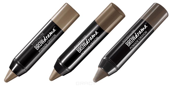 Maybelline, Карандаш для бровей Brow Drama Pomade Crayon, 1,1 г (3 оттенка), 1,1 г, 04 темно-коричневыйGreenism - эко-серия для ухода<br><br>