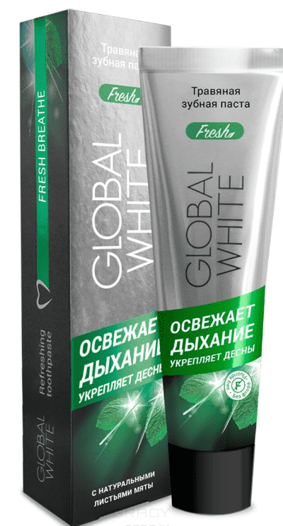 Global White, Зубная паста Травяная освежающая дыхание, 100 мл зубная паста отбеливающая global white 100 мл