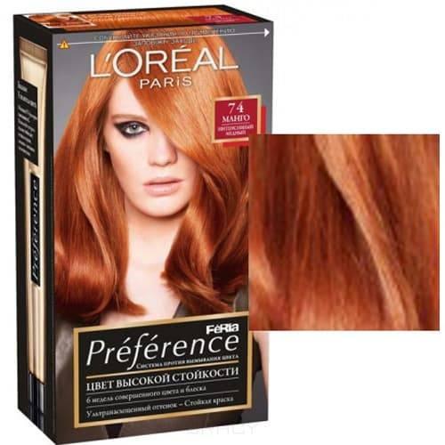 LOreal, Краска для волос Preference Feria (6 оттенков), 270 мл 74 Манго интенсивный медныйОкрашивание волос Casting, Preference, Prodigy, Excellence<br><br>