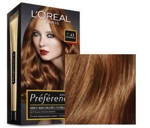 LOreal, Краска для волос Preference (27 оттенков), 270 мл 7.43 Шангрила интенсивный медныйОкрашивание<br><br>