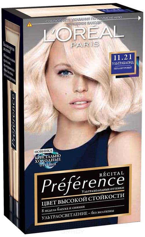 LOreal, Краска для волос Preference (27 оттенков), 270 мл 11.21 Ультраблонд перламутровыйОкрашивание<br><br>