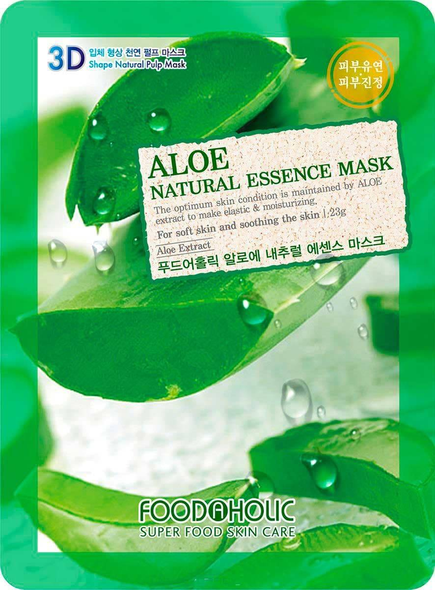 FoodaHolic, Тканевая 3D маска с натуральным экстрактом алоэ Aloe Natural Essence Mask, 23 мл essence longlasting lipstick 07 цвет 07 natural beauty variant hex name ce677e