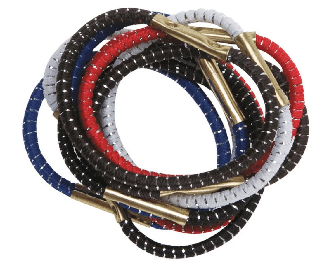 цена на Dewal, Резинки для волос с серебристой нитью, цветные (3 вида), 10 шт, 10 шт, mini