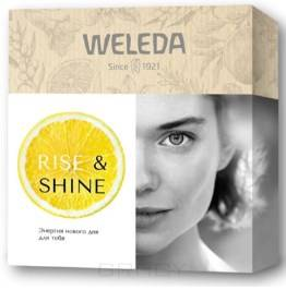 """Купить Weleda, Подарочный набор """"RIise & Shine"""": Цитрусовый освежающий гель для душа 200 мл + Облепиховый питательный крем для рук 50 мл + Цитрусовое освежающее масло для тела 10 мл"""