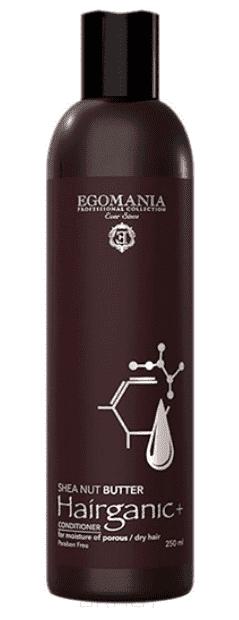 Egomania, Кондиционер с маслом Ши для увлажнения пористых, сухих волос HAIRGANIC+ SHEA NUT BUTTER CONDITIONER, 250 мл egomania кондиционер с маслом ши для увлажнения пористых сухих волос hairganic 1000 мл