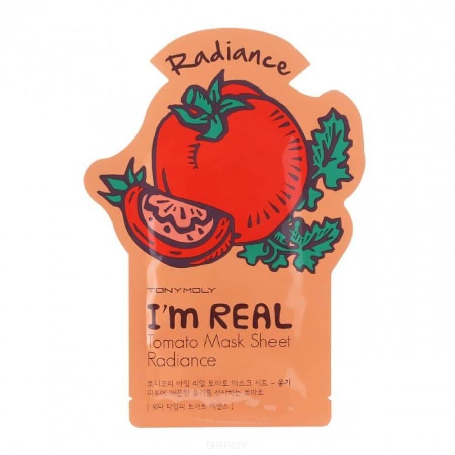 Тканевая маска для лица с экстрактом томатов I'm Real Tomato Mask Sheet Radiance, 21 млНовая серия листовых масок от Tony Moly! Новая уникальная 3-х слойная структура маски! Маски данной серии на время сокращают доступ воздуха к коже, в то время как происходит увлажнение и питание активными веществами не только верхних, но и глубоких слоев эпидермиса. В данной серии Вы найдете всевозможные варианты для различных типов и проблем кожи. Маски делятся на 3 вида: с водянистой структурой, с эмульсионной структурой и молочной структурой. Водянистый тип помогает придать коже сияние и тонус, эмульсионный тип заботится о здоровье кожи, сужает поры и очищает, молочный тип   питает и глубоко увлажняет кожу, делает ее нежной и бархатистой.&#13;<br>&#13;<br>&#13;<br>&#13;<br>Лимон: водянистый тип, осветляет кожу.&#13;<br>&#13;<br>Чайное дерево: водянистый тип, успокаивает кожу.&#13;<br>&#13;<br>Томат: водянистый тип, придает сияние.&#13;<br>&#13;<br>Алое: водянистый тип, увлажняет.&#13;<br>&#13;<br>Гранат: водянистый тип, повышает эластичность.&#13;<br>&#13;<br>Красное вино: эмульсионный тип, заботится о здоровье пор.&#13;<br>&#13;<br>Морские водоросли: эмульсионный тип, детоксикация кожи.&#13;<br>&#13;<br>Б...<br>
