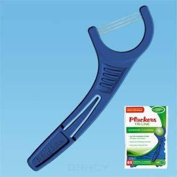 Зубной станок (флоссер) Tri-Line, 65 шт./уп.PlackersTri-Line уникальный флоссер с тремя параллельными нитями для идеальной чистки &#13;<br> &#13;<br>      &#13;<br>     &#13;<br> &#13;<br>Основные особенности:&#13;<br> &#13;<br>Тройная нить обеспечивает идеальное качество чистки &#13;<br>  &#13;<br> Встроенная зубочистка на ручке &#13;<br>  &#13;<br> Легко скользит между зубами &#13;<br>  &#13;<br> Запатентованная нить Tuffloss не изнашивается, в семь раз прочнее, чем обычная зубная нить &#13;<br>  &#13;<br> На тонкую нить Tuffloss нанесена пропитка с ароматом мяты, облегчающая проникновение нити между плотно расположенными зубами &#13;<br>  &#13;<br> Специальная удобная ручка позволяет с легкостью чистить зубы одной рукой &#13;<br>  &#13;<br> Количество в пачке -65 шт.&#13;<br> &#13;<br> &#13;<br>   &#13;<br>        &#13;<br>       &#13;<br> &#13;<br>   &#13;<br>      &#13;<br>     &#13;<br> &#13;<br> &#13;<br> &#13;<br>  Plackers Tri-Line - уникальный флоссер от Plackers! Ни один флоссер не обеспечит такое качество чистки! Он имееттри параллельные нити, которые идеально убирают остатки пищи и зубной налет между зубами. При узком межзубном пространстве можно легким нажатием нижней и верхней челюстей на дужки станка протолкнуть нить между зуба...<br>