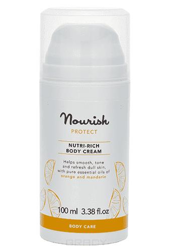 Питательный крем для тела, для сухой кожи Nourish Protect Body Cream, 100 млСодержащиеся в этом креме концентрированные эфирные масла апельсина и мандарина тонизируют и освежают уставшую, тусклую кожу. Фитоактивный морской альгин в сочетании с пептидами и гиалуроновой кислотой стимулируют синтез коллагена и улучшают внеклеточные структуры ткани, делая кожу упругой и гладкой. Высокая концентрация витамина С позволяет нейтрализовать свободные радикалы, а также способствует синтезу коллагена. Входящее в состав масло дикой чилийской розы уникально по количеству и составу входящих в него ненасыщенных жирных кислот, витаминов и олигоэлементов.&#13;<br> &#13;<br>  Применение: Нанести необходимое количество средства на кожу и втереть легкими массажными движениями.&#13;<br> &#13;<br> Состав: Вода, сухой экстракт сока листьев алоэ барбаденсис (алоэ вера)*, глицерин, неомыляемое соевое масло*, масло семян шиповника собачьего*, масло ши нилотика*, пальмитоил трипептид-5, цетеарил оливат, сорбитан оливат, цетеарил глюкозид, альгин, альгиновая кислота, глицерил стереат, цетилстеариловый спирт, левулин...<br>