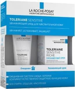 La Roche Posay, Набор: Риш насыщенный крем + Очищающий гель-уход Toleriane, 40/50 мл фото