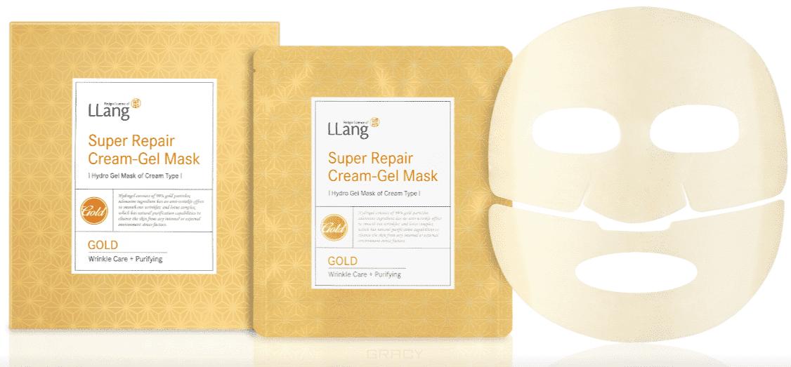цена на LLang, Гидрогелевая восстанавливающая маска с экстрактом золота Super Repair Cream-gel Mask (Gold), 25 гр*5