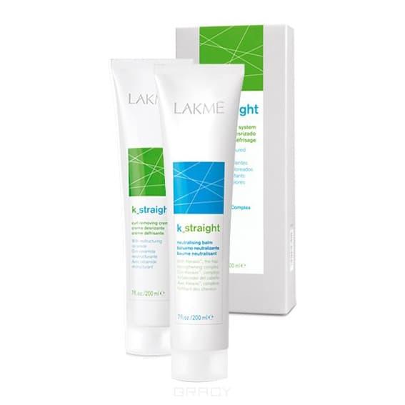 Lakme, Комплект: Крем для выпрямления волос K_Straight 1-200мл, Бальзам нейтрализующий K_Straight-200мл