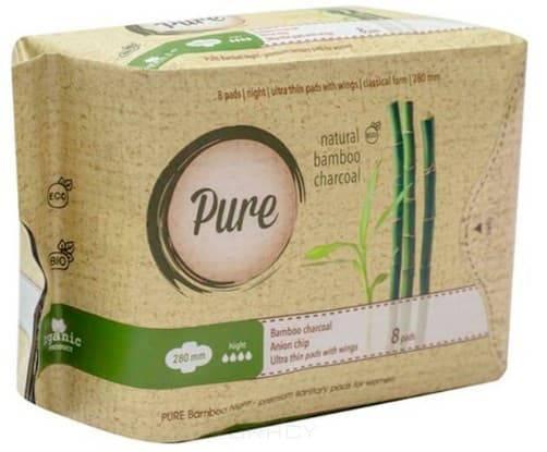 Прокладки гигиенические женские с углем бамбуковые, ночные Bamboo Night, 28 см, 8 шт прокладки гигиенические женские с углем бамбуковые дневные bamboo day 24 см 10 шт