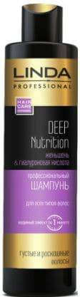 Linda Professional, Шампунь для волос Deep Nutrition Black, 300 мл black sexy deep v neck tie up backless crochet lace swimwear