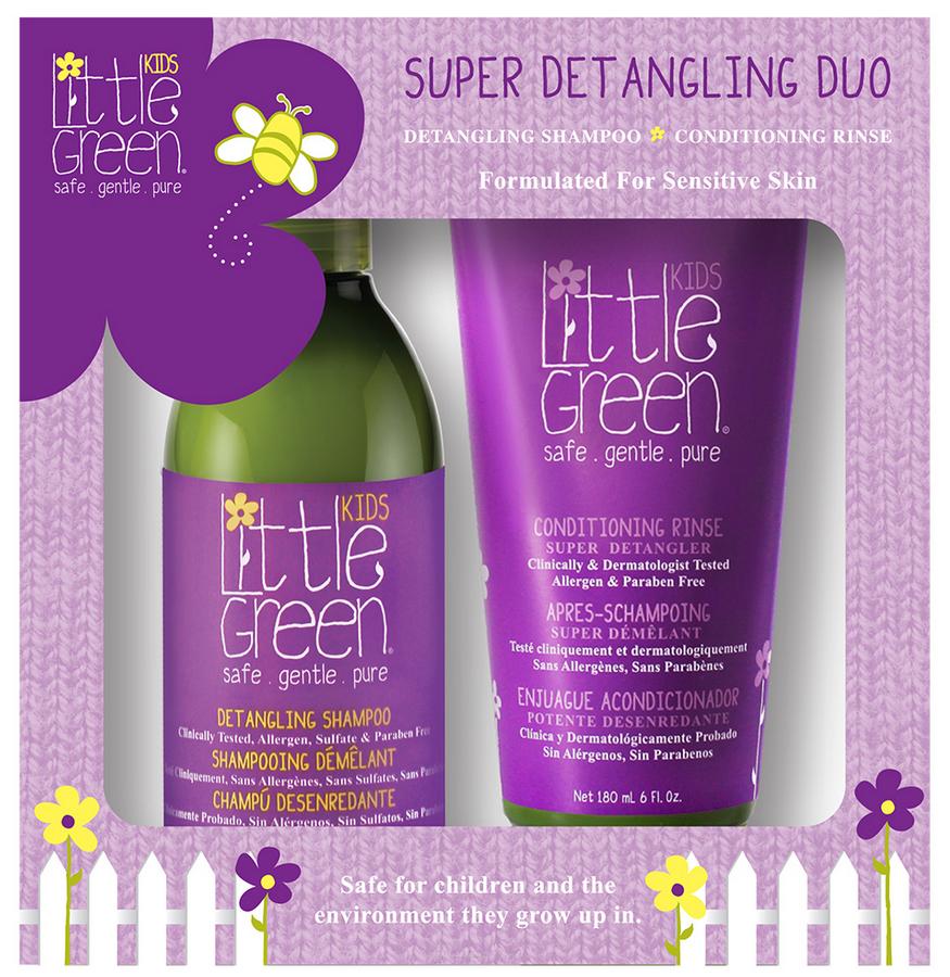 Купить Little Green, Набор для облегчения расчесывания и распутывания волос (для детей от 12 мес) (шампунь, кондиционер), 240/180 мл