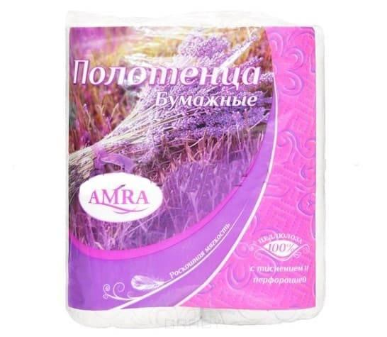 цена Полотенце бумажное в рулоне «Amra», 2 слоя, 56 листов, 14 метров, 2 рулона