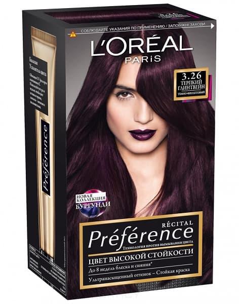 L'Oreal, Краска для волос Preference (27 оттенков), 270 мл 3.26 Терпкий глинтвейн фото