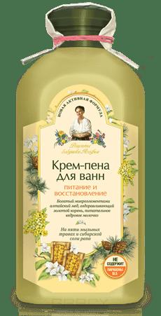 Крем-пена для ванн Питание и восстановление, 500 млОписание:&#13;<br> &#13;<br> Душистый алтайский мед интенсивно питает кожу, золотой корень тонизирует, а кедровое молочко увлажняет и смягчает.&#13;<br> &#13;<br> Натуральная сибирская соль рапа насыщает кожу необходимыми микроэлементами, аминокислотами и минералами, регенерирует коллаген, обладает антиоксидантными свойствами. Естественная пенящаяся основа – пять мыльных трав (солодка уральская, амарант, качим сибирский, белый и красный мыльные корни), создает густую кремовую пену и дарит ни с чем не сравнимое удовольствие.<br>
