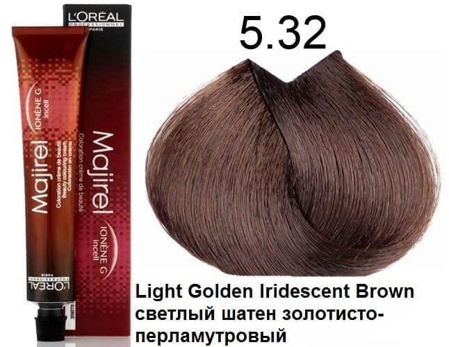 LOreal Professionnel, Крем-краска Мажирель Majirel, 50 мл (88 оттенков) 5.32 светлый шатен золотистый-перламутровыйОкрашивание: Majirel, Luo Color, Cool Cover, Dia Light, Dia Richesse, INOA и др.<br><br>
