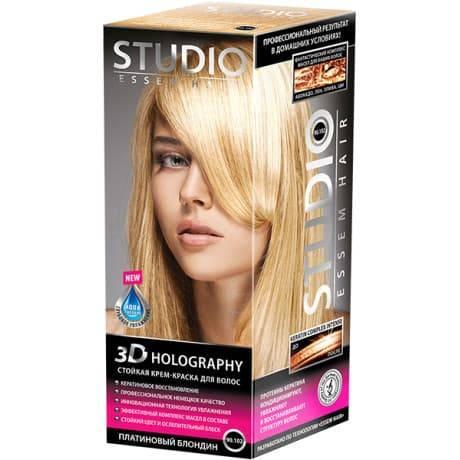Studio, Краска для волос 3D Golografic (26 оттенков), 50/50/15 мл 90.102 Платиновый блондин renbow colorissimo краска для волос hlp 11 2 высокоинтенсивный платиновый блондин 100 мл