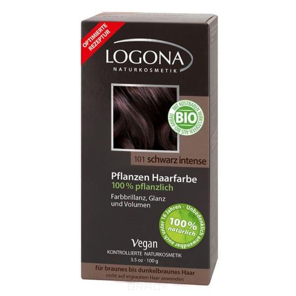 Logona, Растительная краска для волос, 100 г (8 оттенков) 101 Насыщенно-черный logona powder naturel brown краска растительная для волос тон 080 натурально коричневый 100 г