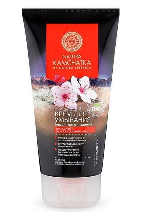 Очищающий крем для умывания Бережное очищение Kamchatka, 150 млОписание:&#13;<br> &#13;<br> Лёгкий и нежный крем эффективно очищает и одновременно увлажняет кожу лица, повышая её упругость. Натуральные экстракты, входящие в состав крема, защищают кожу от вредного воздействия окружающей среды, предотвращая пересушивание и делая её невероятно мягкой и сияющей.&#13;<br> &#13;<br> Способ применения:&#13;<br> &#13;<br> Нанесите небольшое количество средства на влажную кожу лица и области шеи массирующими движениями, смойте водой.Рекомендуется использовать 1-2 раза в неделю.&#13;<br> &#13;<br> Активные компоненты:&#13;<br> &#13;<br> Aqua (термальная вода), Coco-Glucoside, Glycerin, Stearic Acid, Palmic Acid, Cocos Nucifera Oil, Butyrospermum Parkii Butter (масло ши), Olea Europaea Fruit Oil, Potassium Hydroxide, Nuphar Luteum Root Extract* (экстракт водной лилии), Jasminum Officinale Flower Water* (экстракт цветов жасмина), Camellia Sinensis Leaf Extract* (экстракт зеленого чая), Angelica Ursina Root Extract WH (экстракт дудника медвежьего), Pinus Sibirica Seed Oil Polyglyceryl-6 EstersPS, Salix Alaxensis ExtractWH (экстр...<br>
