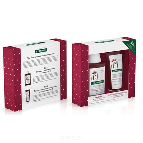 Klorane, Набор Для укрепления и роста волос, 200/200 мл klorane шампунь с экстрактом хинина укрепляющий 200 мл