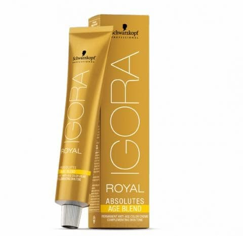 Краска для волос Igora Royal Absolutes Age Blend, 60 мл (10 оттенков)Новая линия краски для волос - IGORA ROYAL ABSOLUTES AGE BLEND   предназначена для людей старше 55 лет и обеспечивает 100% покрытие седины. &#13;<br> &#13;<br>  В результате после ее нанесения волосы зрительно выглядят более густыми. Подходит для всех типов волос. Линейка Igora Age Blend включает 10 мягких оттенков, сочетающихся с тоном кожи.&#13;<br> &#13;<br>   &#13;<br>      &#13;<br>     &#13;<br> &#13;<br>  Применение:&#13;<br> &#13;<br>  Смешать крем-краску с лосьоном окислителем. Равномерно кистью нанести на сухие волосы. После 30-45 минут тщательно помыть волосы шампунем Schwarzkopf BC Color Freeze для нейтрализации удаления излишков краски.<br>