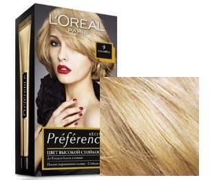 LOreal, Краска для волос Preference (27 оттенков), 270 мл 9 Голливуд очень светло-русыйОкрашивание<br><br>