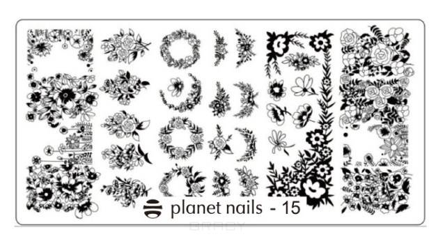 Planet Nails, Пластина для Stamping Nail Art (15 видов) Пластина для Stamping Nail Art - 15 portable stainless steel nail art manicure set nail care tools with nail cutter clipper file scissor eyebrow tweezers