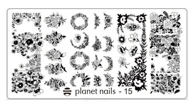 Planet Nails, Пластина для Stamping Nail Art (15 видов) Пластина для Stamping Nail Art - 15 stylish 24 pcs smile expression pattern nail art false nails