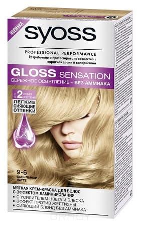 Syoss, Крем-краска для волос Gloss Sensation без аммиака, 115 мл (20 оттенков) 9-6 Ванильный латтеОкрашивание<br><br>