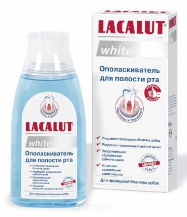 Ополаскиватель для полости рта White, 300 млДля восстановления природной белизны зубов&#13;<br>&#13;<br>LACALUT white ополаскиватель - новый продукт, созданный для более продолжительного сохранения отбеливающего эффекта зубной пасты LACALUT white.&#13;<br>&#13;<br>Свойства ополаскивателя&#13;<br>&#13;<br>Белоснежная улыбка нуждается в тщательном комплексном уходе. Известно, что продукты, которые мы ежедневно употребляем в пищу, негативно влияют на цвет эмали, окрашивая ее. Чай, кофе, красное вино   даже незначительные дозы этих напитков могут влиять на цвет зубов, а курение, не говоря уже о вреде всему организму в целом, на зубах оставляет желтоватый налет.&#13;<br>&#13;<br>Сохранить и поддержать естественную белизну зубов можно, если к выбору продуктов подойти разумно и ответственно и подобрать препараты, позволяющие решать задачи комплексно.&#13;<br>&#13;<br>Основным помощником в этом станет качественная отбеливающая паста, а усилить ее эффект призван специальный ополаскиватель LACALUT white. Этот ополаскиватель усиливает и пролонгирует действие отбеливающей зубной пасты LACALUT white. Благод...<br>