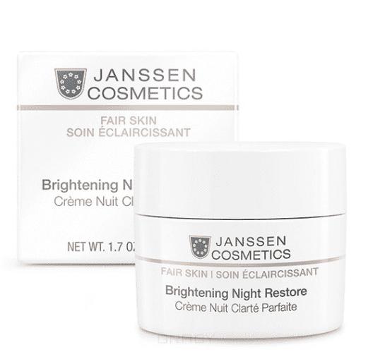 Janssen, Осветляющий ночной крем Fair Skin, 50 мл janssen коллаген осветляющий белый лист janssen derma fleece masks collagen fair 8104 917 1 шт