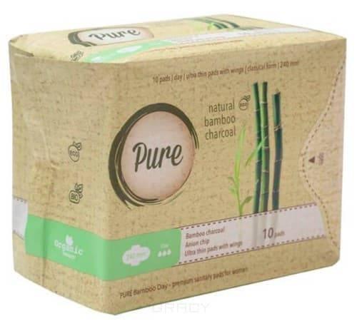 Pure, Прокладки гигиенические женские с углем бамбуковые, дневные Bamboo Day, 24 см, 10 шт прокладки гигиенические женские с углем бамбуковые дневные bamboo day 24 см 10 шт