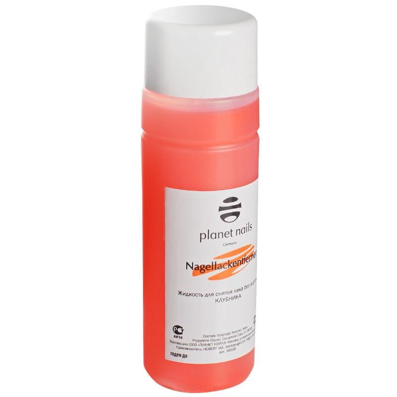 Жидкость для снятия лака клубникаБыстро и эффективно удаляет любой лак, не повреждая ногтевую пластину, имеет приятный запах клубники, что делает процедуру маникюра более комфортной, а содержание в его составе органических растворителей делает воздействие на ногти более мягким.&#13;<br>&#13;<br>  &#13;<br>&#13;<br>&#13;<br>Способ применения:&#13;<br>&#13;<br>Нанесите средство на тампон и приложите к ногтю на несколько секунд. Затем массирующими движениями снимите лак.<br>