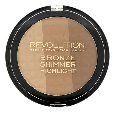 MakeUp Revolution, Бронзер-хайлайтер для лица Ultra Bronze, Shimmer and Highlight, 15 гр хайлайтер ultra strobe and light makeup revolution лицо