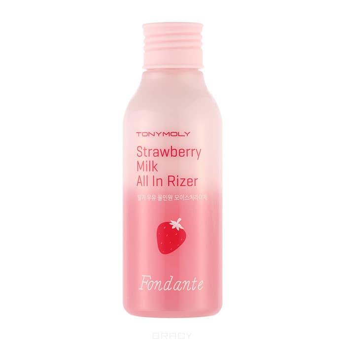 Увлажняющее двухфазное молочко Fondante Strawberry Milk All In Riser 2, 150 млЭто многофункциональное средство сочетает в себе функции тонера и ухаживающего лосьона одновременно. Данное двухфазное средство имеет 2 слоя, где верхний   это эмульсия на основе козьего молока (1000мг), а нижний слой эссенция с экстрактом клубники (10мг).&#13;<br>Козье молоко богато протеинами, которые увлажняют и питают кожу, придают ей эластичность. Экстракт клубники богат полифенолами, которые оказывают мощное антиоксидантное действие, выводят токсины и стимулируют выработку собственного коллагена. Полифенолы, входящие в состав экстракта клубники, обладают мощными антиоксидантными свойствами, затормаживают процессы старения.&#13;<br>&#13;<br>Высокое содержание меди в экстракте клубники стимулирует выработку коллагена, как следствие кожа становится более упругой, нежной и эластичной. Не содержит парабенов, минерального масла, бензофенона, бензиловый спирта, триэтаноламина.&#13;<br>  &#13;<br>    &#13;<br>  &#13;<br>&#13;<br>  Способ применения:&#13;<br>&#13;<br>  Хорошенько встряхните средство для смешивания 2 слоев. Нанесите на кожу легкими похло...<br>