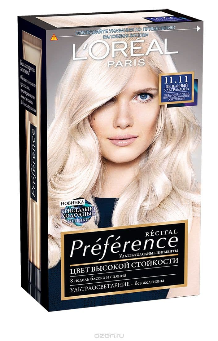 LOreal, Краска дл волос Preference (27 оттенков), 270 мл 11.11 Ультраблонд пепельныйОкрашивание волос Casting, Preference, Prodigy, Excellence<br><br>