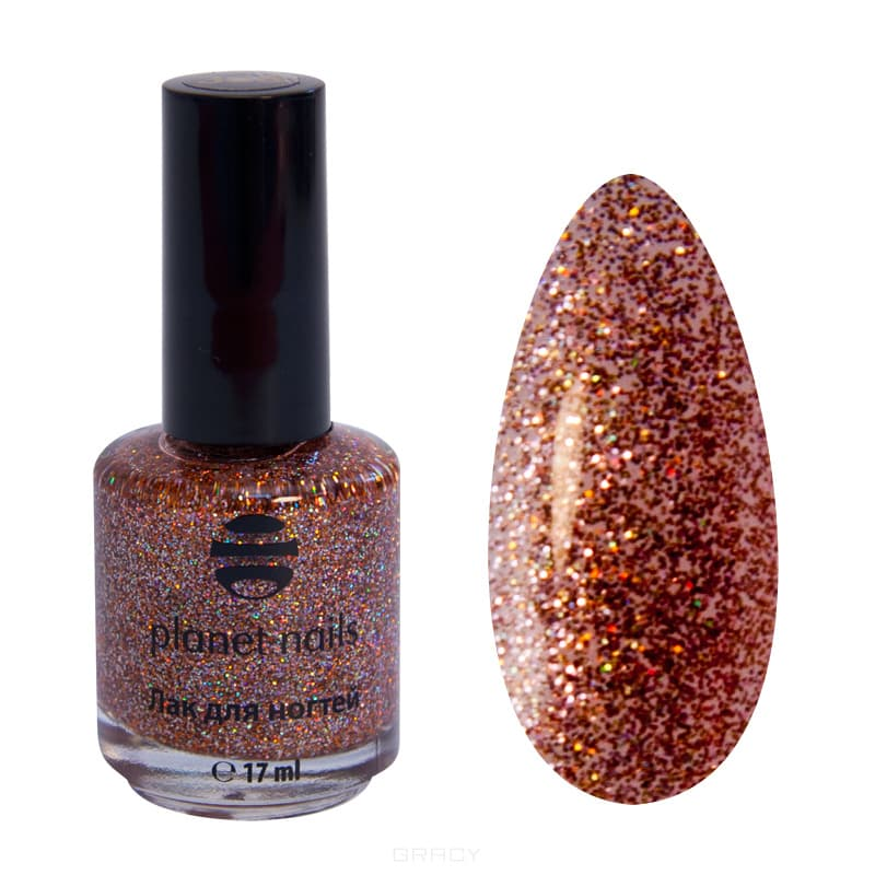 Planet Nails, Глиттер лак для ногтей, 17 мл (21 оттенок) 308